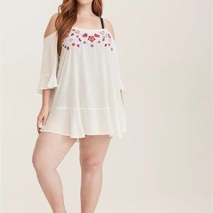 Torrid Floral Embroidered Tunic Swim Cover Up